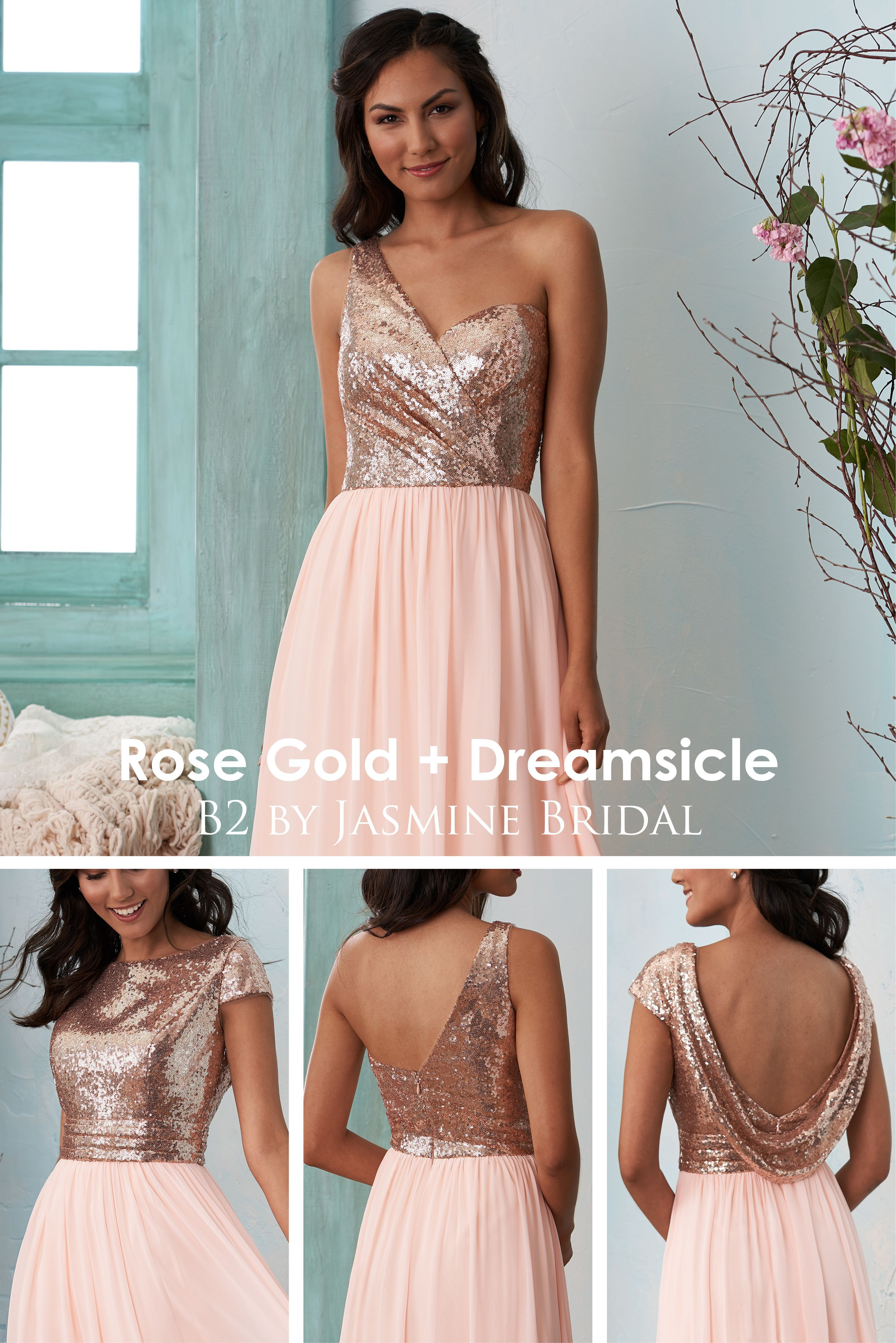 Jasmine Bridal - B14 Rose Gold + Dreamsicle Bridesmaid Dresses