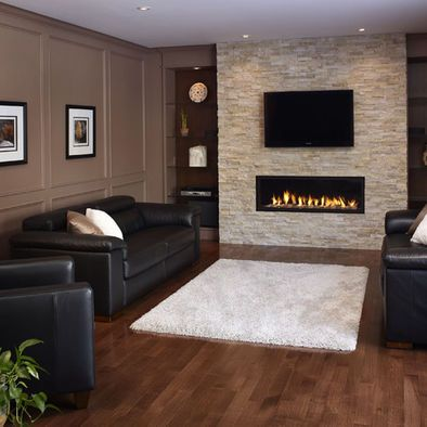 Stone fireplaces add warmth and style to the modern home for Linear fireplace ideas