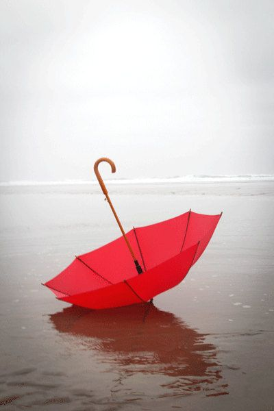 Beach Photography, Red Umbrella, RED, Summer Photograph, Summer Rain, Cool, Misty, Fog, Beach, Cannon Beach Oregon