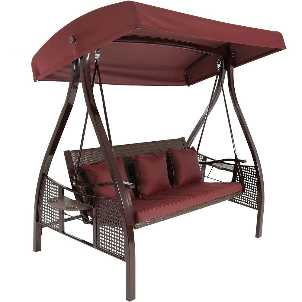 Sunnydaze Decor Deluxe Steel Frame Porch Swing With Maroon Cushion