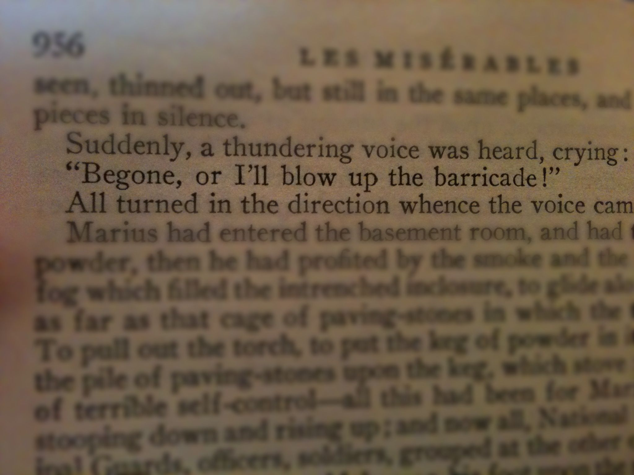 les miserables marius quote begone or i ll blow up the barricade