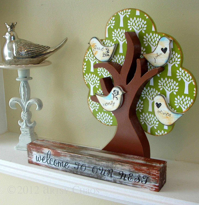 Unfinished wood craft products - Unfinished Wood Family Tree Decor