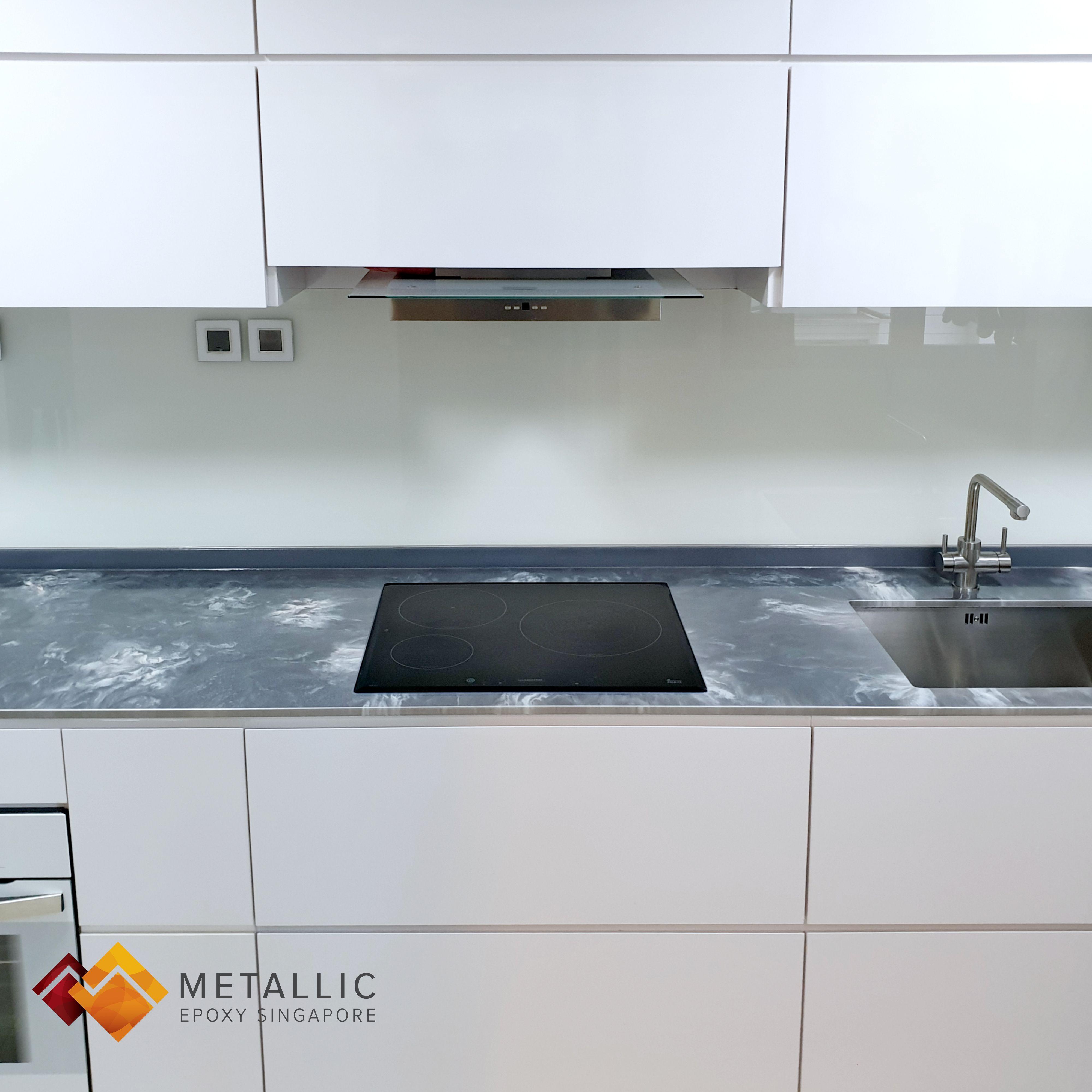 Metallic Epoxy Singapore White Highlights On Silver Base Kitchen Countertop In 2020 Countertops Countertop Design Kitchen Countertops