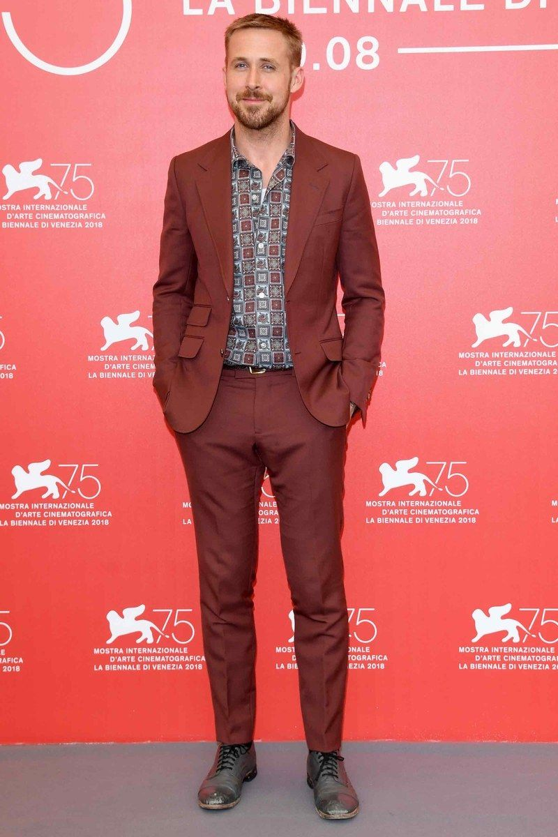 All Of Your Favorite Ryan Goslings Showed Up At The Venice Film Festival Yesterday Best Dressed Man Suit Without Tie Ryan Gosling