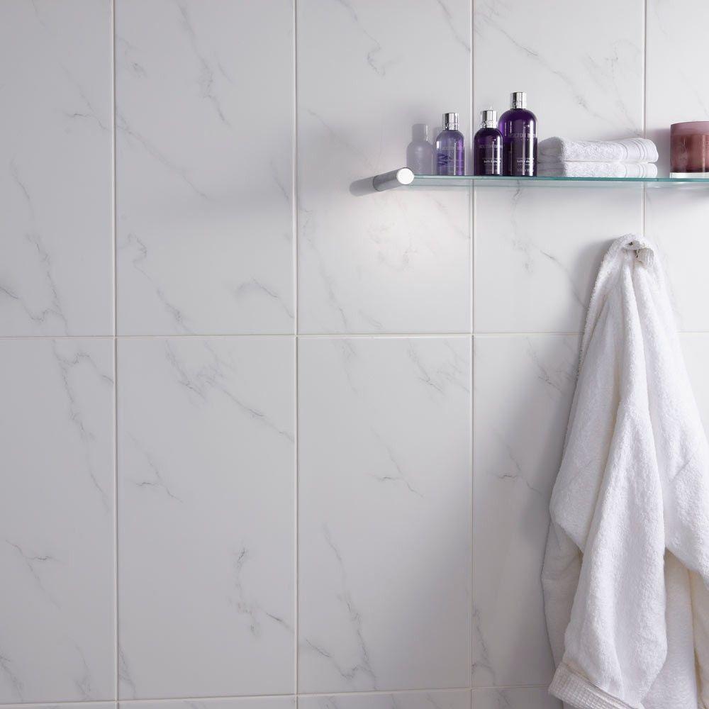 White Carrara Marble Effect Wall Tiles shower room Pinterest