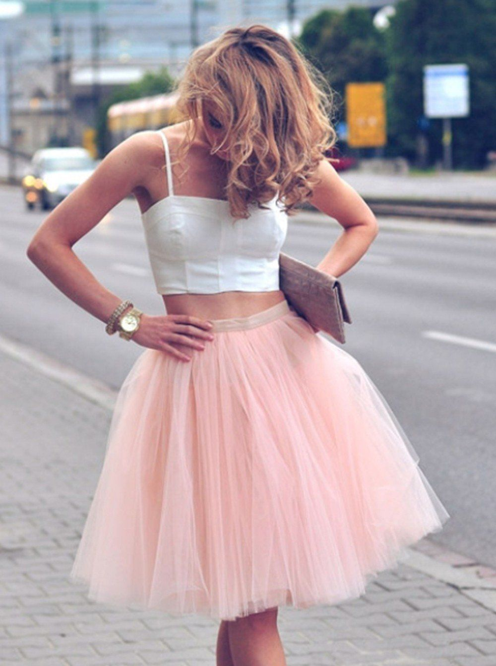 Beautiful Prom Dresses, Two Piece Spaghetti Straps Knee-Length Pearl Pink Homecoming Dress