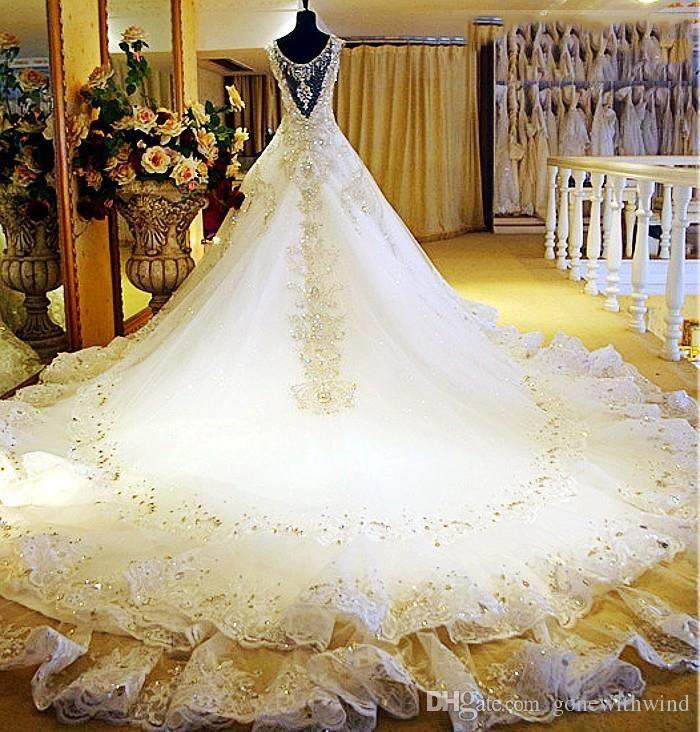 Arab Dubai elegant gold crystal beaded wedding dresses 2017 ...