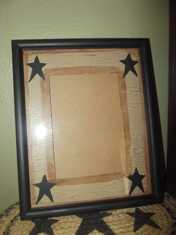 Primitive Crackle Wood Picture Frame w/ Matte~ Holds 5x7 ~ Country Decor #NaivePrimitive