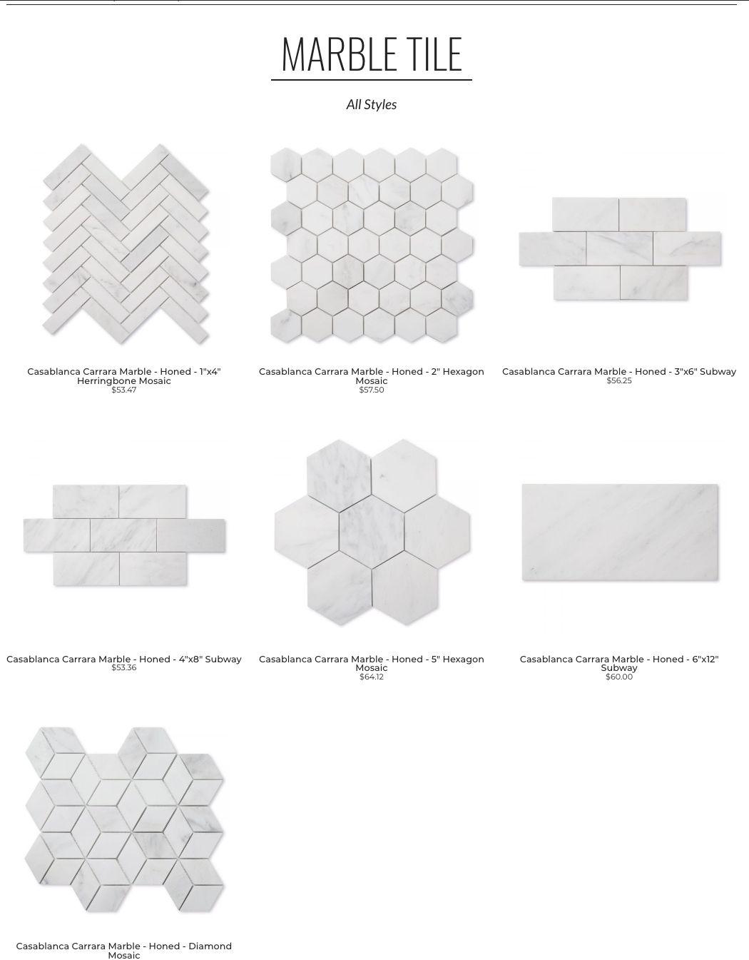 Riad Tile Casablanca Carrara Hexagonal Mosaic Diamond Tile Cement Tile