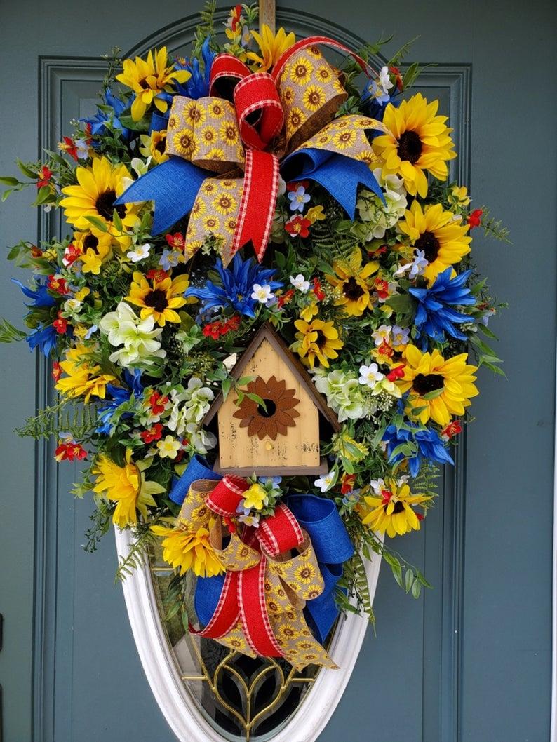 Photo of Sunflower wreath / spring wreath / summer wreath for front door / everyday wreath / bird house wreath / oval wreath / deluxe summer wreath
