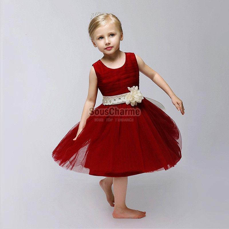 robe de princesse fille pour cérémonie pas cher en tulle rouge agrémenté  ceinture à fleur ivoire