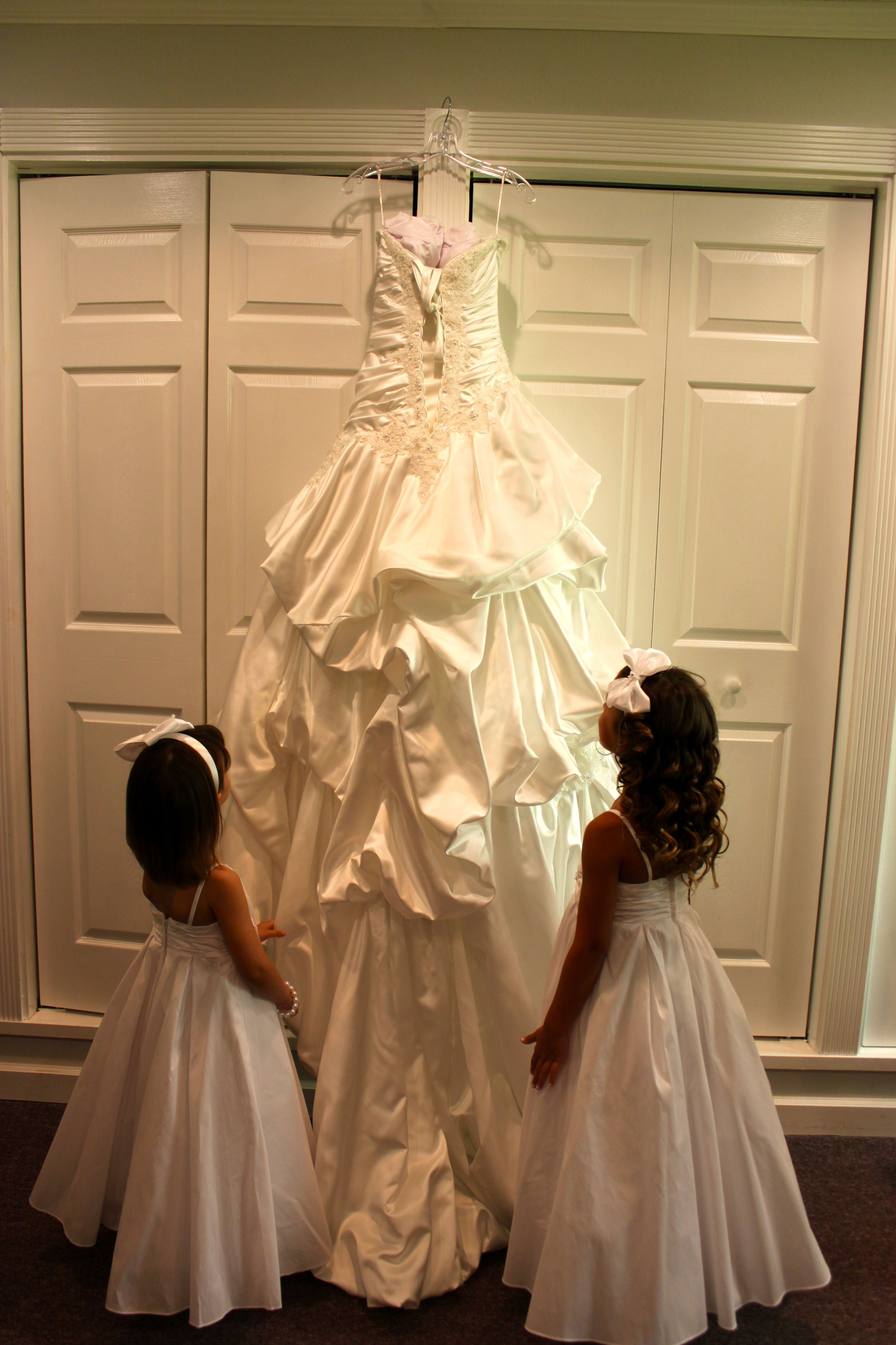 My flower girls looking up at my dress i do pinterest