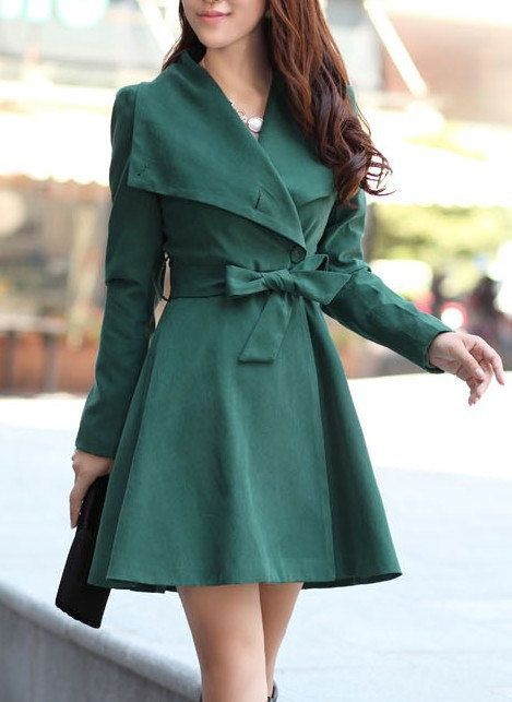 Green wool women coat women dress coat ... | St. Patrick's Day ...