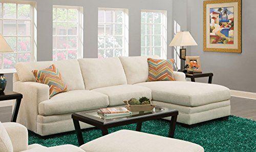 ACME Norell Sectional Sofa W/2 Pillows, Sassy Cream (1Set/2Ctn) Sassy Cream