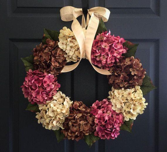 WREATHS | Hydrangea Wreaths | Winter Wreath | Front Door Wreaths | Wreath | Outdoor Wreaths | Spring Door Wreath | Housewarming Gift