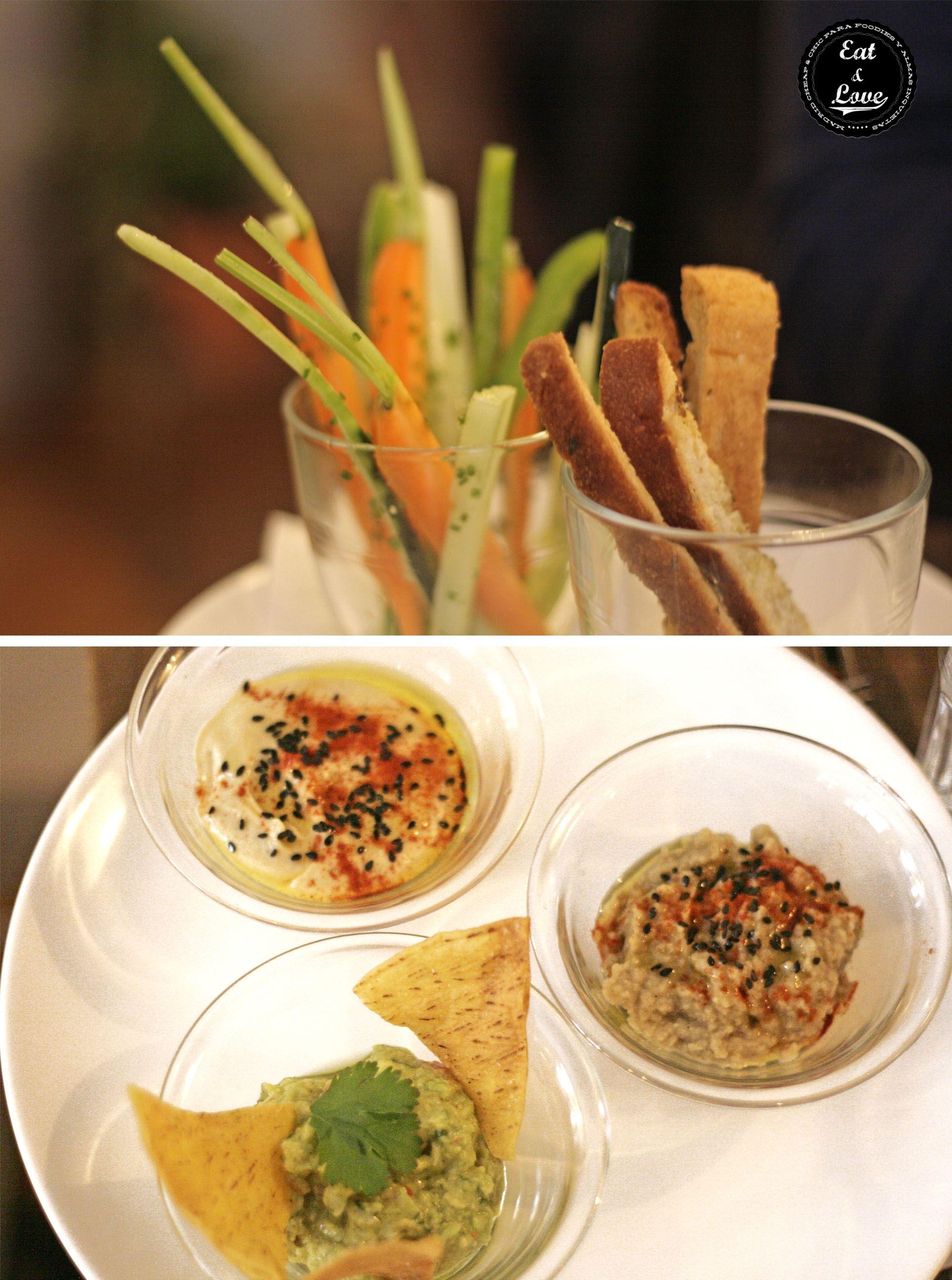 Mezze: baba ganoush, hummus y guacamole - restaurante Tandem by Triciclo - Madrid