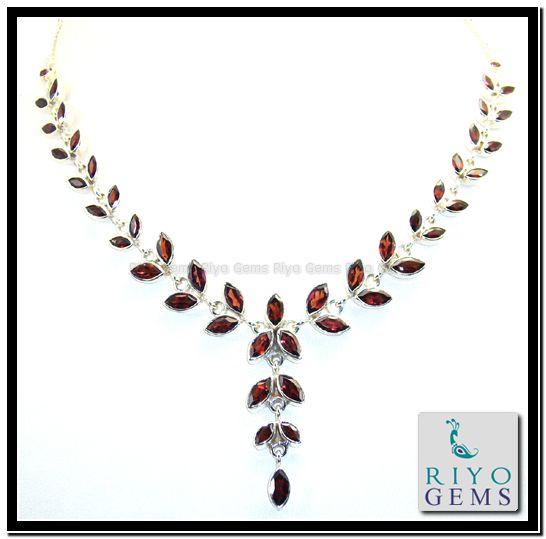 Garnet Silver Necklace by http://www.riyogems.com