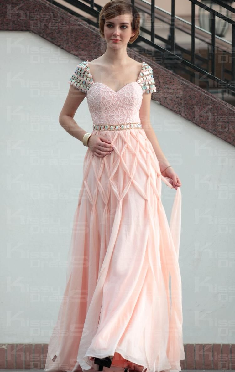 Jewel Short Sleeves long Prom Dresses Pink Red wholesale nm-0172 ...