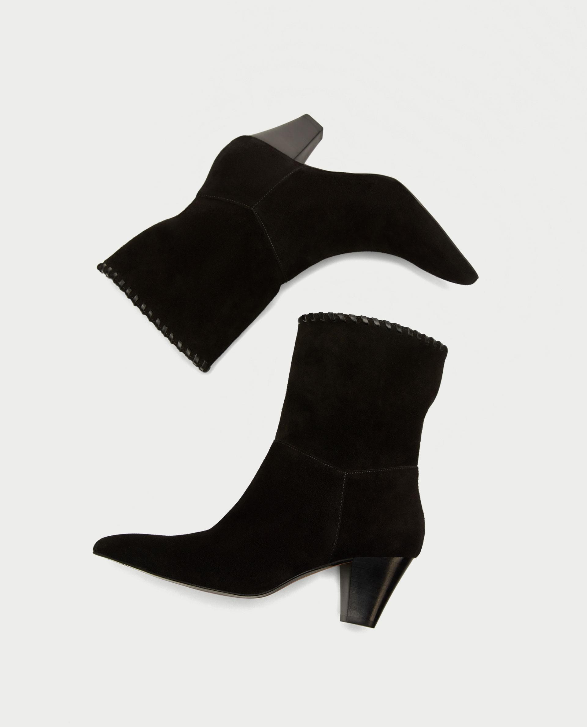 4f11a9886ec4 Leather High Heel Ankle Boots    79.90 USD    Zara    Black leather ...