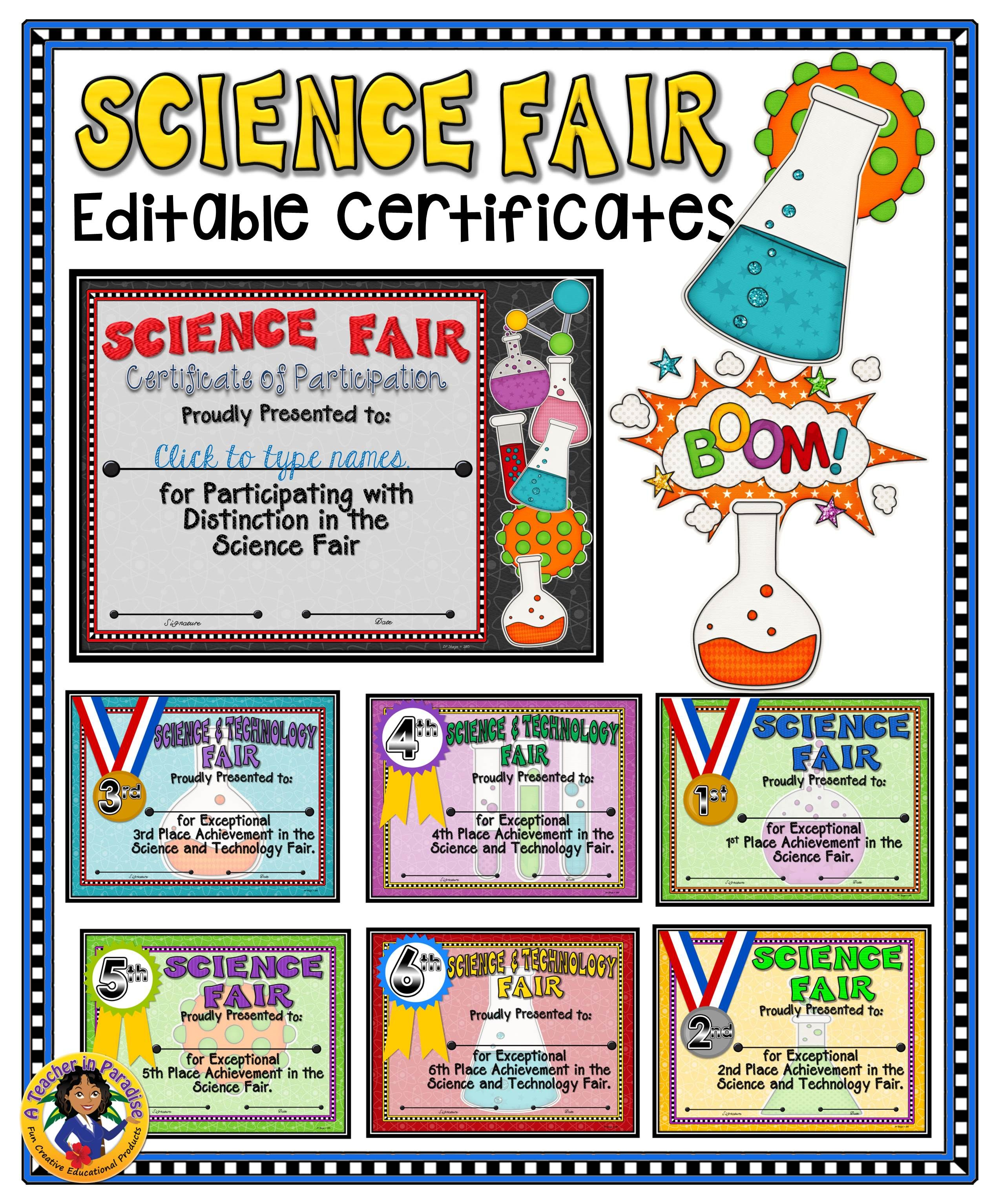 A Colorful Set Of 14 Certificates For Participants And Winners Of The Science Technology Fair Science Fair Award Certificates Science Fair Science Fair Awards
