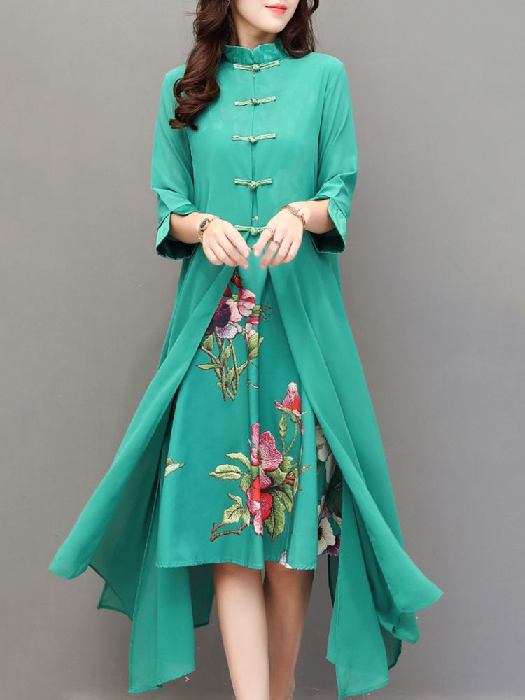 0e5a4b022b7 Hot saleVintage Chinese Style Flower Printed Two-Layer Women Dresses Cheap  - NewChic Mobile.