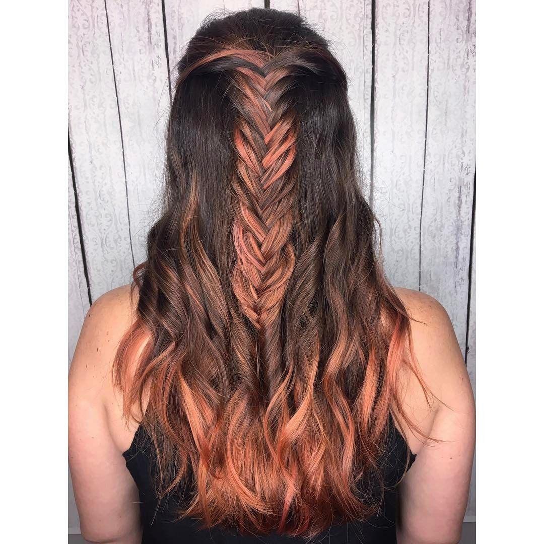 peachy rose gold hair with fishtail braid