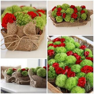 Red and Green in Burlap