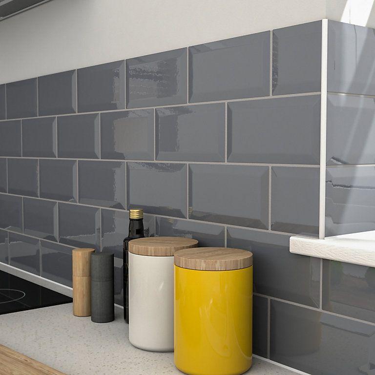 Trentie Anthracite Bevelled Edge Ceramic Wall Tile Pack Of 40 L 200mm W 100mm Diy A Diseño De Interiores De Cocina Azulejo De Cocina Decoración De Cocina