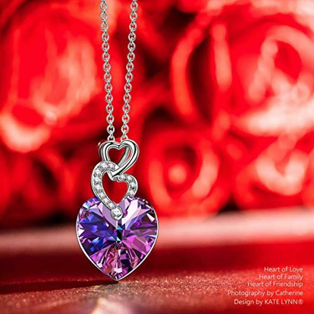 Girls Simulated Red Ruby Heart Pendant 14K White Gold Plated Valentines Gift for Women