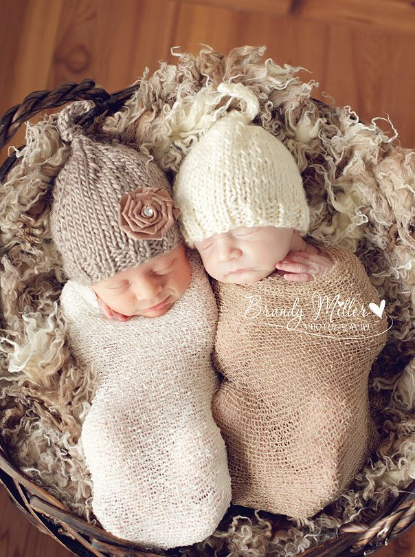 2 baby boy girl twin knitted beanie hats in beige brown with removable rose clip newborn photography prop baby pixie hat 40 99 via etsy