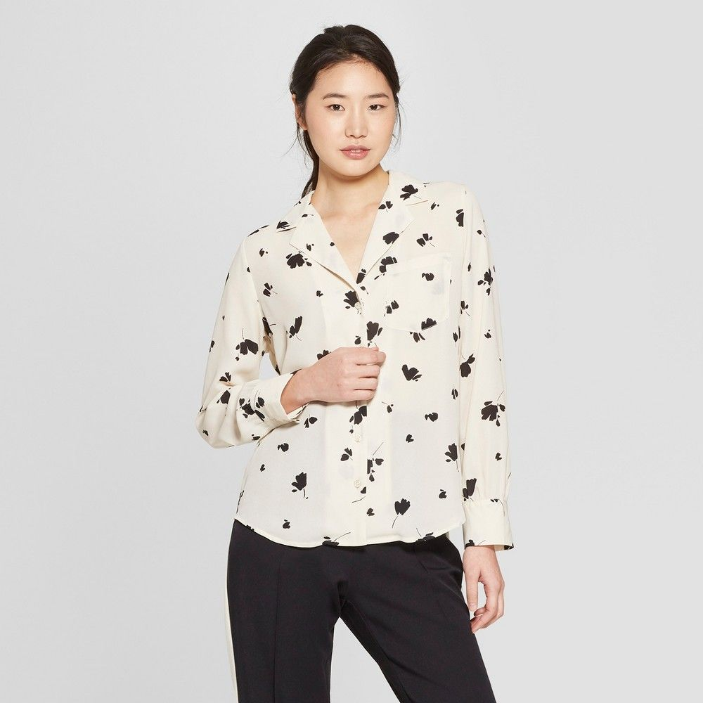 5d7a4193 Women's Floral Print Long Sleeve V-Neck Button-Up Blouse - Who What Wear  Cream Xxl, Cream Floral