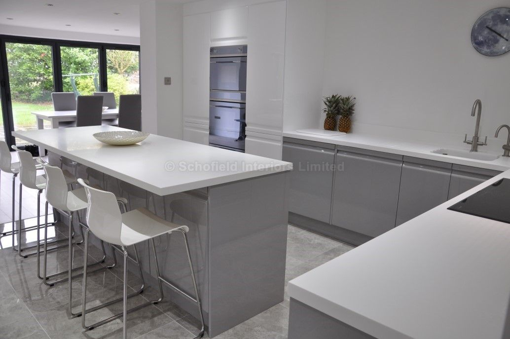 Viseu handleless grey white high gloss kitchen with smeg for Modern white and gray kitchen