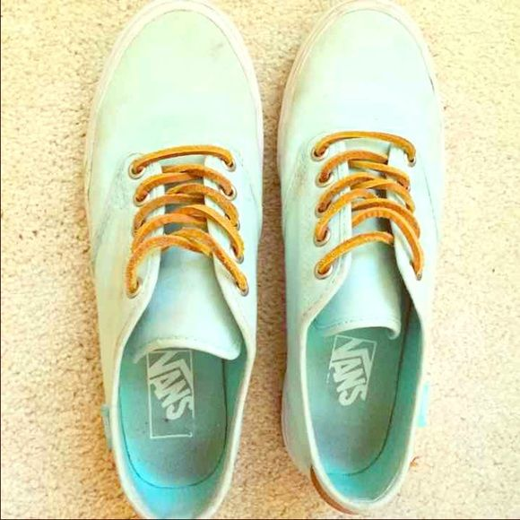 green vans with leather laces
