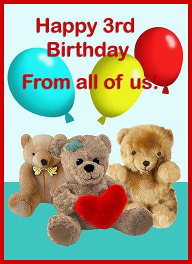 3rd Birthday Card Teddy Bears Birthday Ideas Free Birthday Card