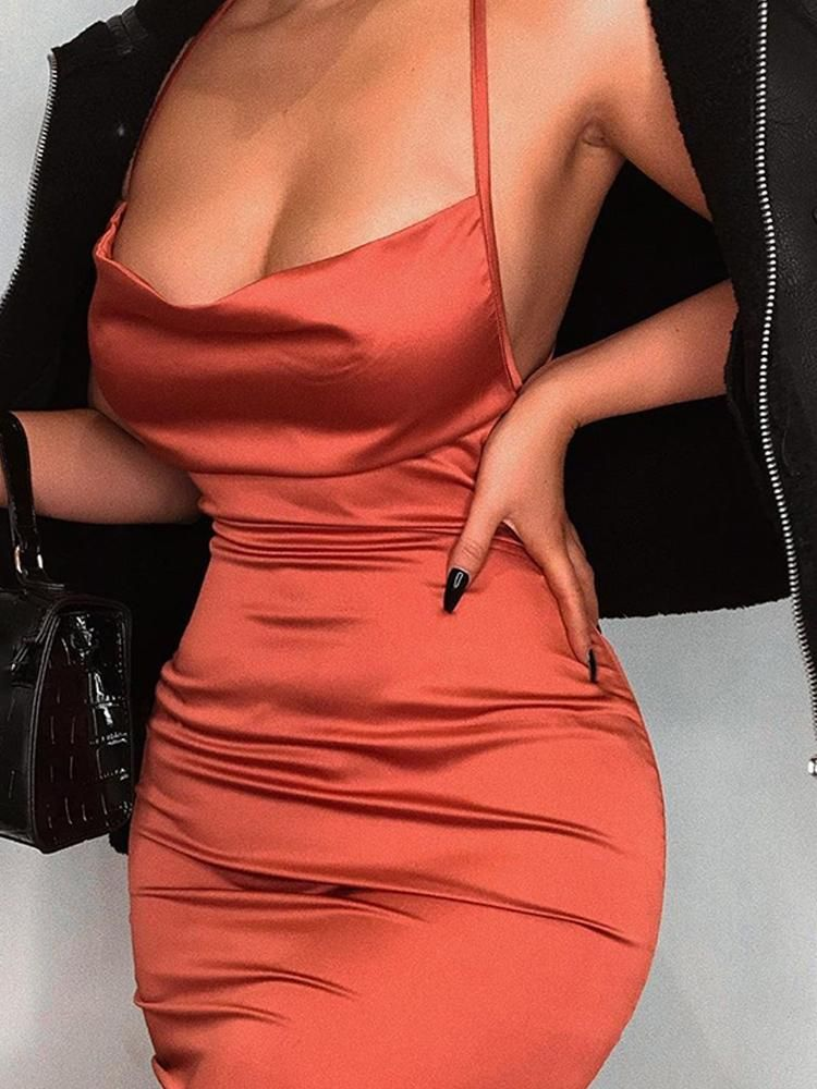 Drape Neck Ruched Slinky Party Dress In 2019 Fashion