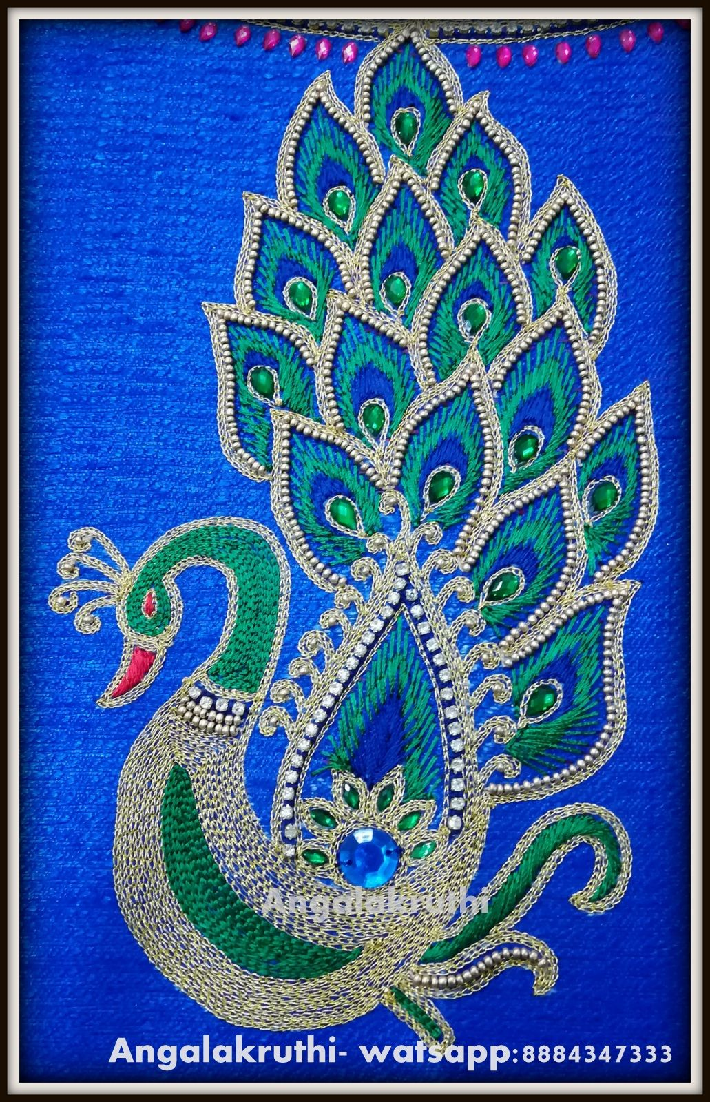 Hand embroidery peacock designs angalakruthi ladies
