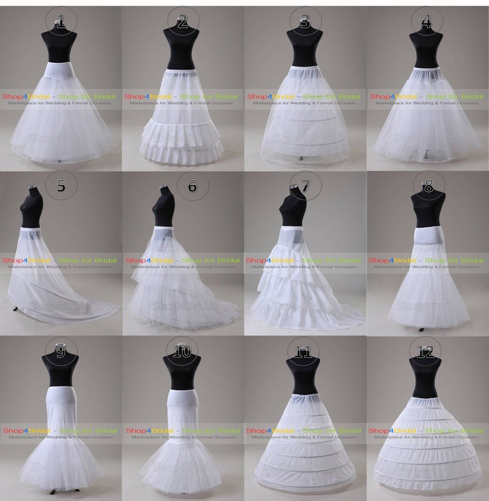 White Wedding Ball Gown Hoop Hoopless Mermaid Fishtail Crinoline Petticoat Slips
