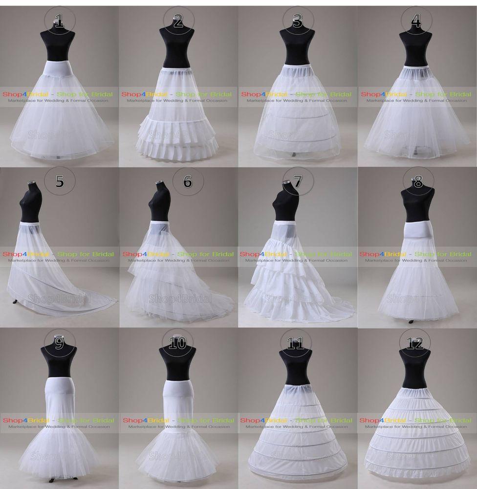 1d5a0b2ea9f64 White Wedding Ball Gown Hoop/Hoopless/Mermaid Fishtail Crinoline Petticoat  Slips