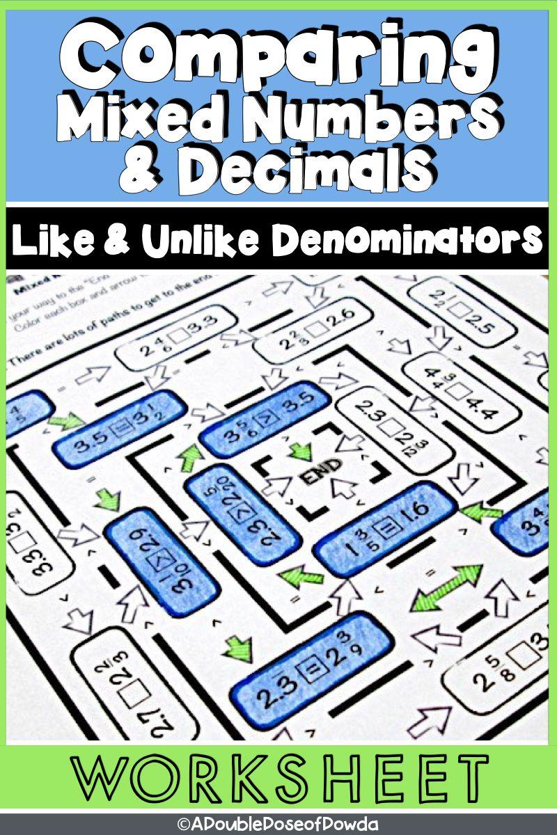 Comparing Mixed Numbers and Decimals Worksheet Decimals