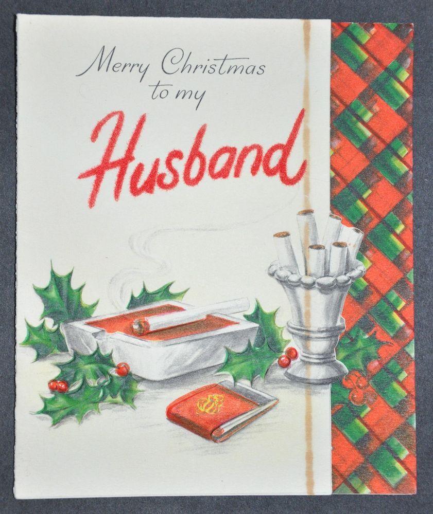 Vintage Christmas Card Husband Guess She Didnt Want Husband