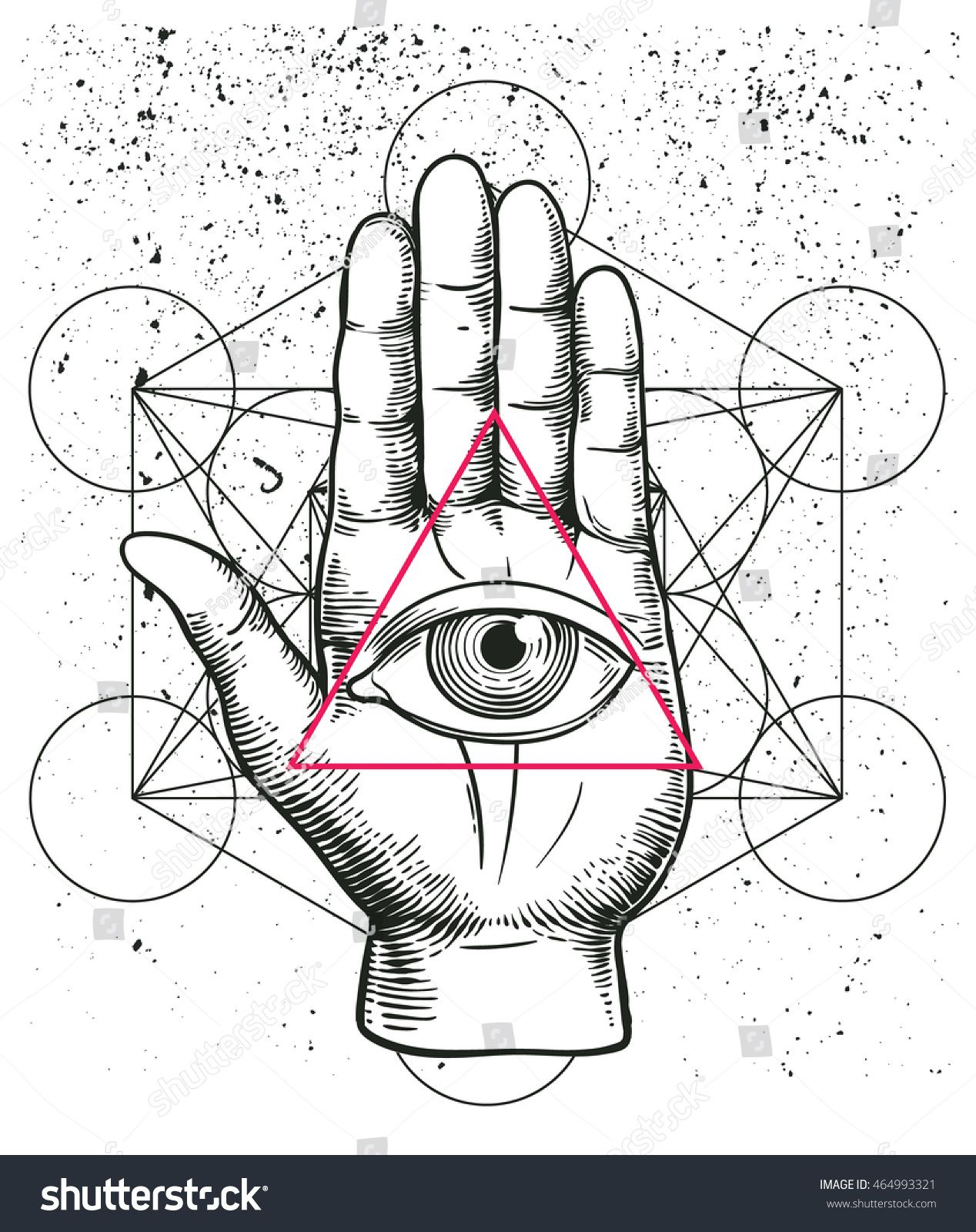 Hipster illustration with sacred geometry hand and all seeing hipster illustration with sacred geometry hand and all seeing eye symbol inside triangle pyramid biocorpaavc