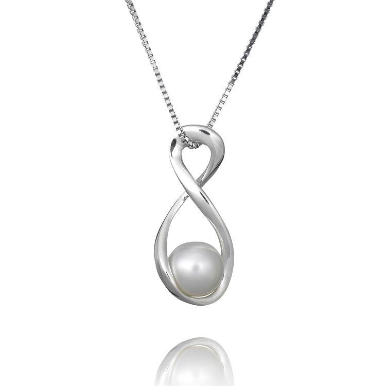 White Pearl Silver Twist Pendant