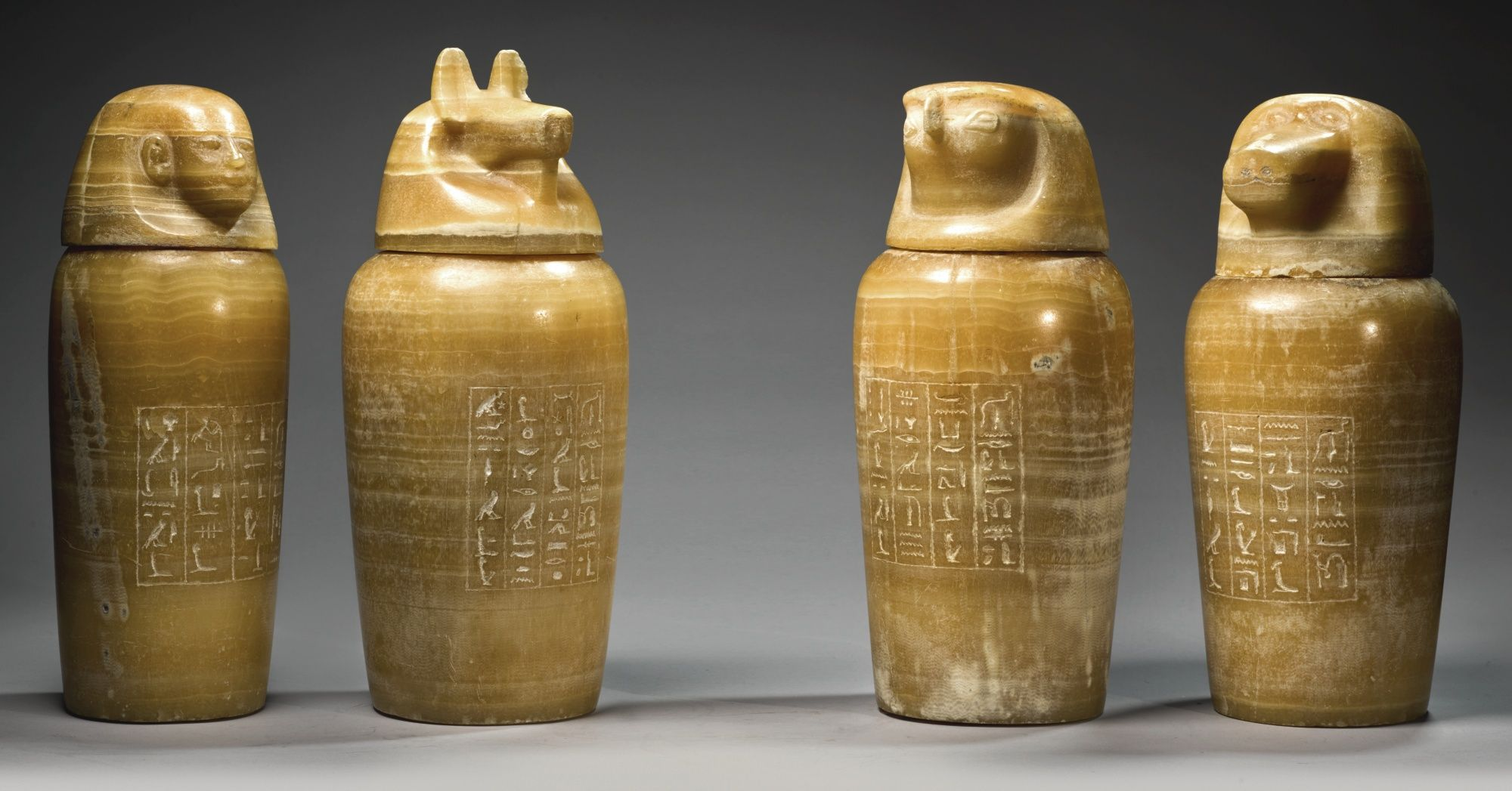 Sotheby A Set Of Four Egyptian Banded Alabaster Canopic Jars 26th