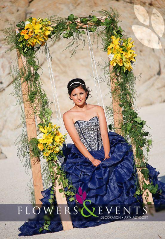 Quinceañera Columpio Flores Sweet 15th Flowers Swing | 15 años ...
