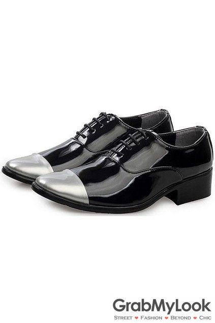 Black Patent Leather Silver Tip Lace Up