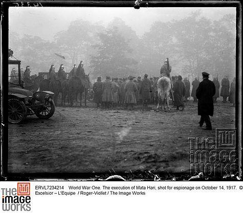 Caption: World War One. The execution of Mata Hari, shot for espionage on October 14, 1917.