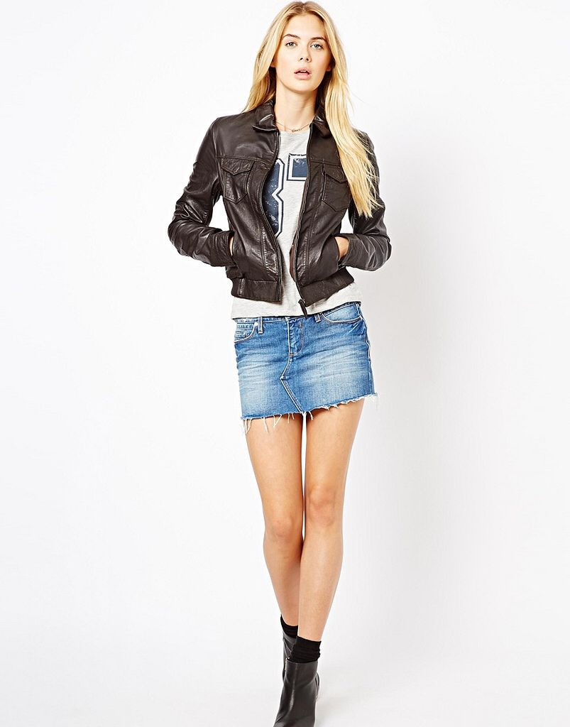 Leather Girl Casual Fashion Denim Outfit Fashion [ 1024 x 803 Pixel ]