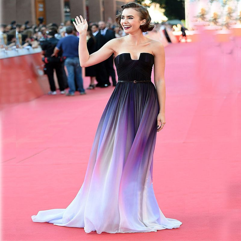 Lily Collins Ombre Celebrity Dress Just Won the Weekend Red Carpet ...