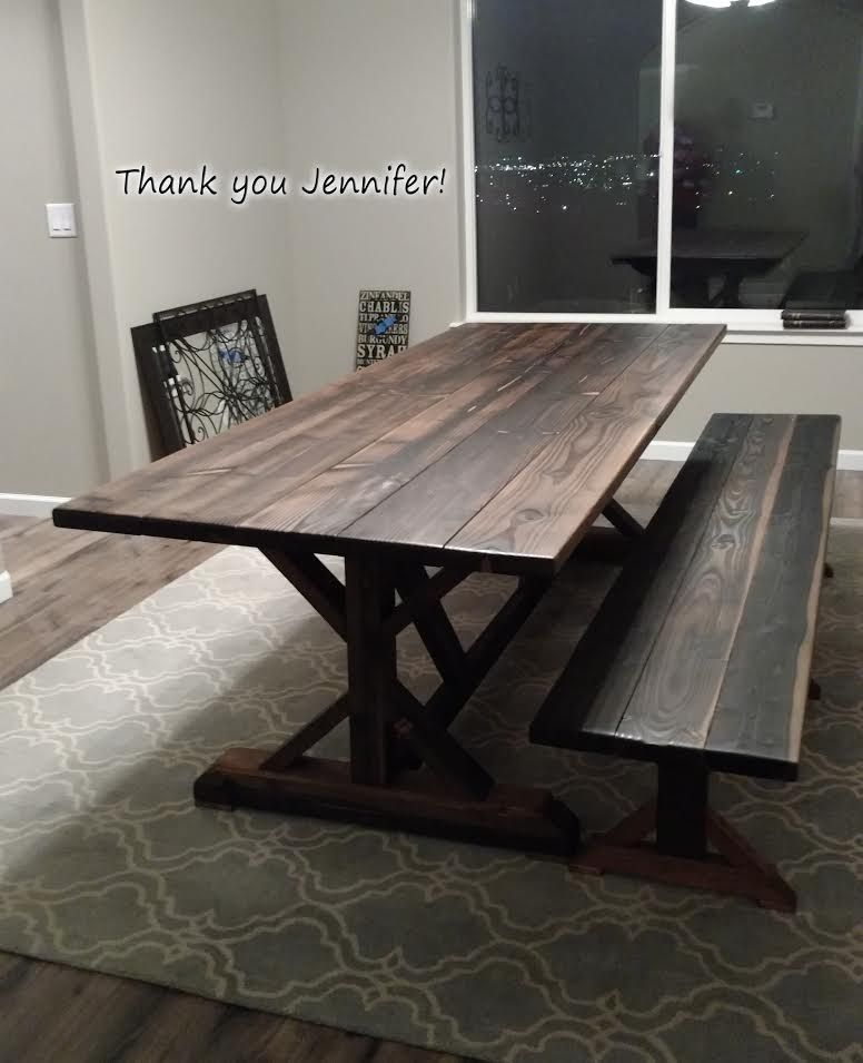 Douglas Fir Farmhouse Dining Table With Bench. Oxidized Wood, Wipe On Poly  Finish.