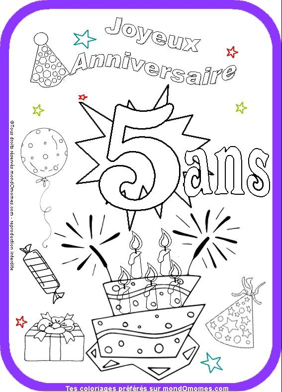 coloriage anniversaire fille 5 ans anniversaire carte. Black Bedroom Furniture Sets. Home Design Ideas